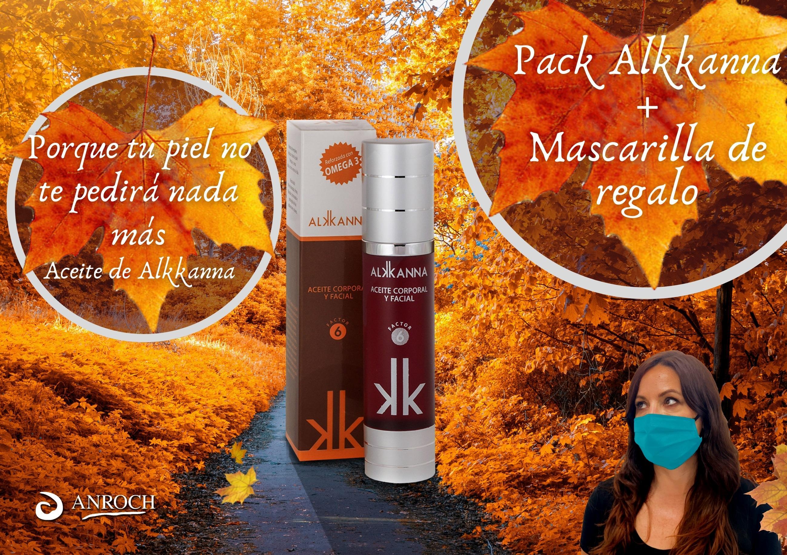 PACK ALKKANNA: 2 aceites de Alkkanna + UNA MASCARILLA  REUTILIZABLE, REVERSIBLE, DOBLE BARRERA DE REGALO